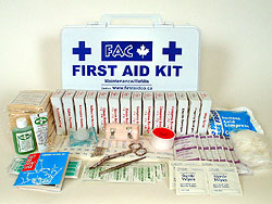 Ontario WSIB–compliant First Aid Kit for 1–5 employees. Click on the picture to enlarge it.